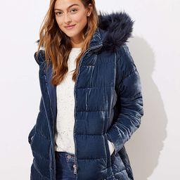 Faux Fur Hood Velvet Puffer Coat | LOFT