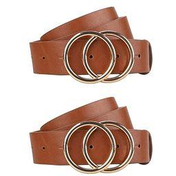 "Black Belts for women PU Brown Leather Belt for Jeans Dress Fashion Waist Belt 1 1/4"" Width 2 Pac... | Amazon (US)"