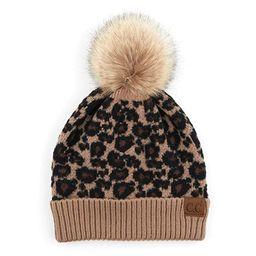 ScarvesMe Women's Leopard Animal Print Warm Winter Beanie Hat with Pom   Amazon (US)