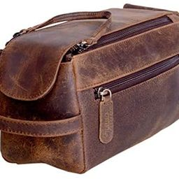 KOMALC Genuine Buffalo Leather Unisex Toiletry Bag Travel Dopp Kit (Distressed Tan) | Amazon (US)
