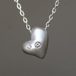 Puffy Heart Necklace in Sterling Silver with Diamonds | Etsy (US)