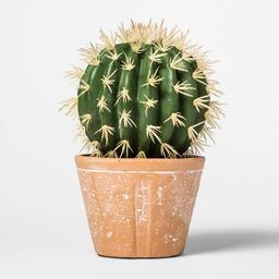 "8.6"" x 5.1"" Artificial Cactus Arrangement in Terra Cotta Pot Green/Red - Threshold™   Target"