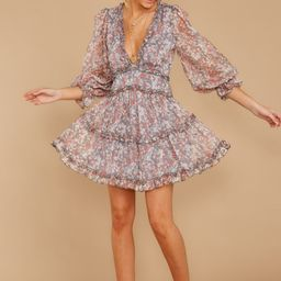 Make It A Date Night Grey Floral Print Dress | Red Dress