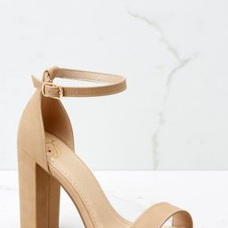 Never Grow Up Tan Ankle Strap Heels | Red Dress