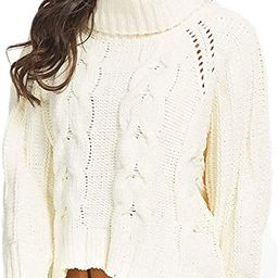 PERSUN Women's Turtleneck Chunky Cable Long Sleeve Knit Pullover Sweater | Amazon (US)