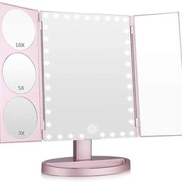 Easehold 35 LED Lighted Vanity Makeup Mirror Tri-Fold with 3X 5X 10X Magnifiers 360 Degree Free R...   Amazon (US)