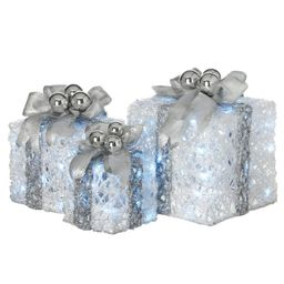 8 in., 10 in. and 12 in. Glittered White Gift Boxes with 70 Cool White Twinkle LED Lights (Set of... | The Home Depot
