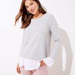 Striped Mixed Media Bell Cuff Sweatshirt | LOFT | LOFT