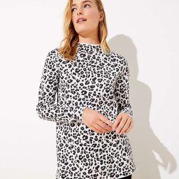 Leopard Print Mock Neck Tunic Sweater | LOFT