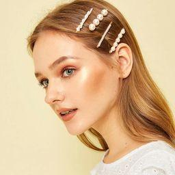 Faux Pearl Decor Hair Clip 4pcs | SHEIN