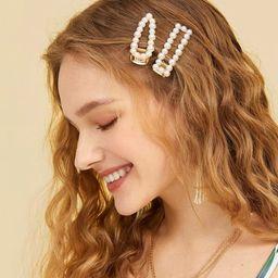 Faux Pearl Decor Hair Snap Clip 2pack | SHEIN