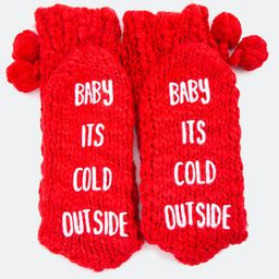 SHIRALEAH Joy Slipper Socks in Red   Francesca's Collections
