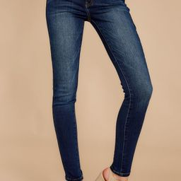 Perfect Aim Dark Wash Skinny Jeans | Red Dress