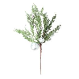 """Northlight 22"""" Iced Cedar Artificial Christmas Spray with Silver Ornaments and Bells 