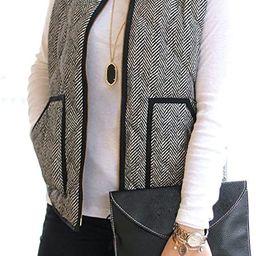 Women's Slim Fall Quilted Herringbone Puffer Vest with Zipper | Amazon (US)