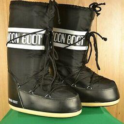 The Original Moon Boot Black Nylon Technica Snow Boots Women's Size 9/10.5 | eBay US