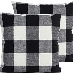 TEALP Buffalo Check Throw Pillow Cover Decorative Square Pillowcase 20x20 inch,Black and White Pl... | Amazon (US)