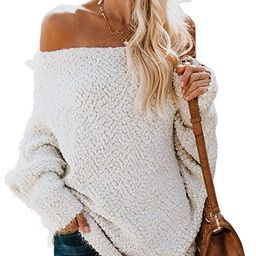 Astylish Womens Loose Knitted Off The Shoulder Oversized Sweaters Pullovers Top | Amazon (US)