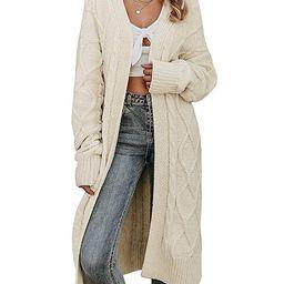 MsLure Women's Long Sleeve Open Front Loose Knit Cardigan Sweater Coat | Amazon (US)