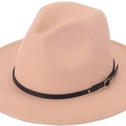 Women Lady Retro Wide Brim Floppy Panama Hat Belt Buckle Wool Fedora Hat | Amazon (US)