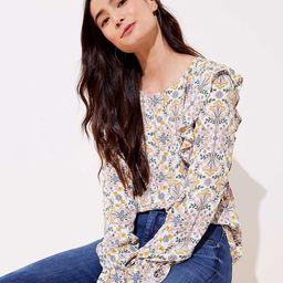 Tapestry Ruffle Shoulder Blouse | LOFT