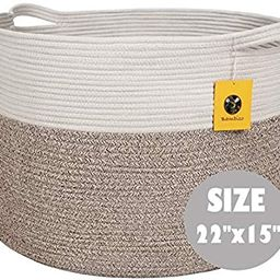 """Bambiso Jumbo Cotton Rope Basket 22"""" x 22"""" x 15""""- Woven Fabric Storage Baskets with Handles for L... 