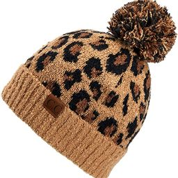 C.C Exclusives Soft Beanie hat with Leopard Pattern and Fur Pom(HAT-7001)(SF-7001) | Amazon (US)