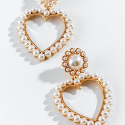 Adina Pearl Heart Statement Earrings | Francesca's Collections