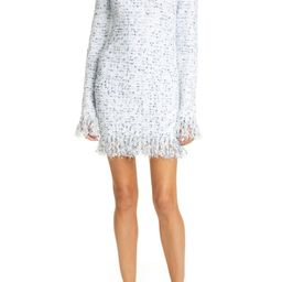 Fringe Metallic Tweed Long Sleeve Minidress   Nordstrom