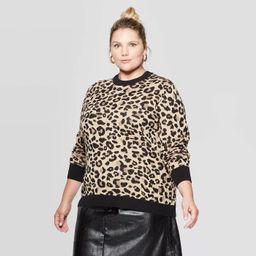 Women's Plus Size Animal Print Long Sleeve Crewneck Pullover Sweater - Ava & Viv™   Target