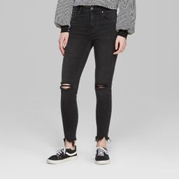 Women's High-Rise Distressed Skinny Jeans - Wild Fable™ Black   Target