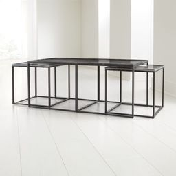 Twilight Marble Nesting Tables Set of Three + Reviews | Crate and Barrel | Crate & Barrel