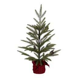 """Holiday Time Snow Pine Tree with Red and Black Plaid Base Christmas Decoration, 24"""" 