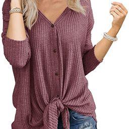 Womens Waffle Knit Tunic Blouse Tie Knot Henley Tops Loose Fitting Bat Wing Plain Shirts   Amazon (US)