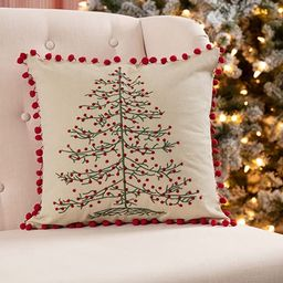 Piper Classics Embroidered Christmas Tree Pillow Cover, 16x16, Farmhouse Red Ticking Stripe on Pi...   Amazon (US)