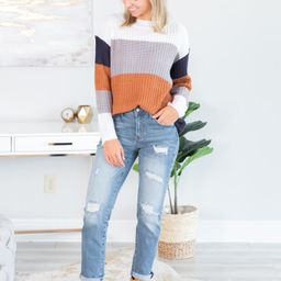 Let's Get Together Taupe Multicolored Colorblock Sweater   The Mint Julep Boutique