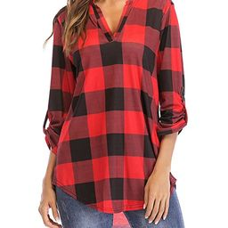 St. Jubileens Women Roll-Up 3/4 Sleeve Plaid Shirt Tunic V Neck Casual Pullover Blouses Tops   Amazon (US)