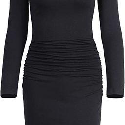 Missufe Women's Casual Long Sleeve Ruched Bodycon Sundress Irregular Sheath T Shirt Dress | Amazon (US)