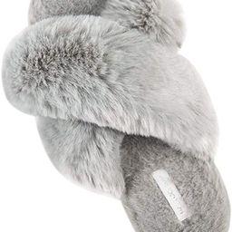 Women's Cross Band Soft Plush Fleece House/Outdoor Slippers | Amazon (US)