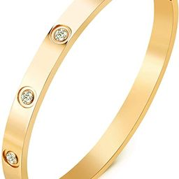 MVCOLEDY Jewelry 18 K Gold Plated Bangle Bracelet CZ Stone Hinged Stainless Steel with Crystal Ba...   Amazon (US)