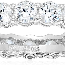 Amazon Essentials Plated Sterling Silver Round-Cut Cubic Zirconia All-Around Band Ring   Amazon (US)