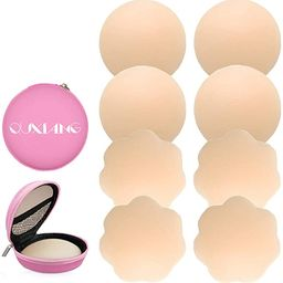 QUXIANG 4 Pairs Pasties Women Nipple Covers Reusable Adhesive Silicone Nippleless Covers (2 Round... | Amazon (US)