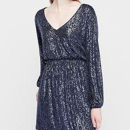 sequin deep v-neck long sleeve sheath dress | Express