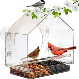 Window Bird Feeder House by Nature Anywhere with Sliding Feed Tray   Amazon (US)