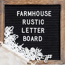 Felt Letter Board with 10x10 Inch Rustic Wood Frame, Script Words, Precut Letters, Picture Hanger...   Amazon (US)