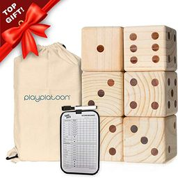 Play Platoon Lawn Dice with Scoreboard - Giant Wooden Yard Dice Outdoor Game   Amazon (US)