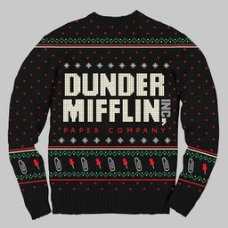 Men's The Office Dunder Mifflin Ugly Holiday Sweater - Black   Target