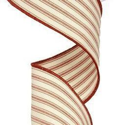 """2.5"""" WIRED Beige/Red Ticking Stripe Ribbon-Ribbon by the Yard for DIY Wreaths, Bows Floral Arrang... 