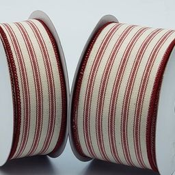 10 Yards Wired Ticking Ribbon ~ 1.5 or 2.5 inch Red & Cream Striped Ticking Ribbon | Etsy (US)