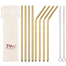 JOYECO Stainless Steel Drinking Straws, Gold Reusable Drink Straw for 20oz Tumblers Rumblers Cold... | Amazon (US)